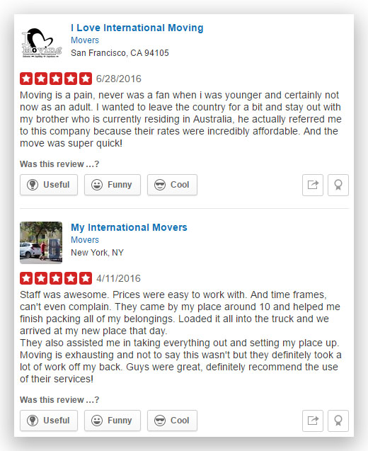 My International Moving Company Fake Reviews