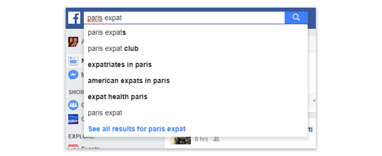 Facebook - searching for expat groups